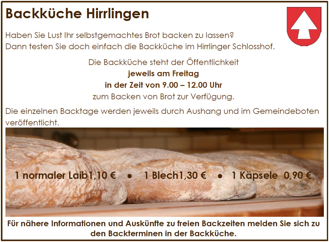 Backinformationen der Backküche Hirrlingen