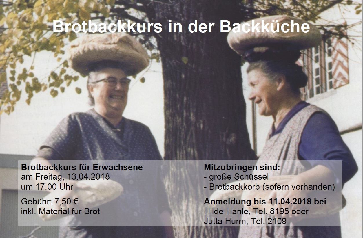 Brotbackkurs am 13.04.2018 in der Hirrlinger Backkücke