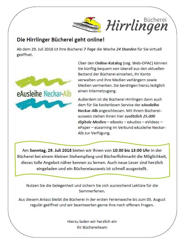 Stehempfang und Büchereiflohmarkt am 29. Juli 2018 in der Hirrlinger Bücherei; Informationsveranstaltung Online-Katalog und eAusleihe Neckar-Alb; Sommerferien